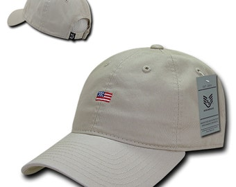 Small American Flag Embroidered Vintage Washed Dad Hat Buckle Strap Cap A03-USA2