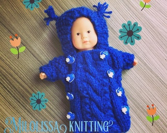 Combination pilot blue hood with tassel, for baby 20 cm style Corolla closed 8 blue and white heart gift for girl buttons