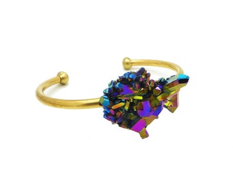 Aura Quartz Bracelet, Rainbow Aura Quartz Cuff, Statement Jewelry