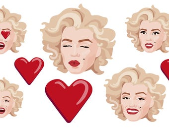MARILYN MONROE CLIPART - Norma Jean clipart, celebrity clipart - marilyn monroe clipart, Marilyn Monroe vectors Instant Download