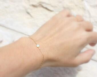 White Opal Bracelet, Tiny Opal Dot Bracelet, simple dainty silver bracelet, minimalist gold bracelet, Blue Opal jewelry, Rose gold bracelet