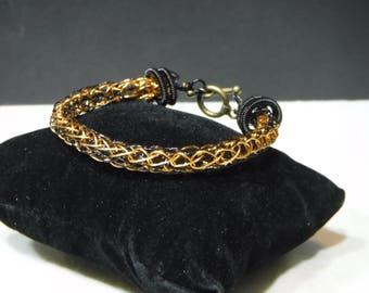 Black and Bronze Viking Knit Bracelet
