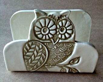 Owl Ceramic Kitchen Sponge Holder recipe card holder Business card holder