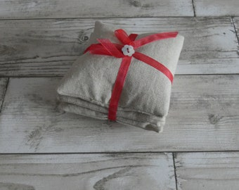 Sale! Red Organza Ribbon Lavender Pillows, Linen, Shabby Chic, Drawer Freshener, Handmade, Gift, Present, Lavender, Natural, Free Postage
