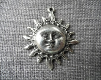 Large antique silver Sun shape pendant