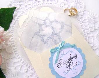 Bride's Handkerchief, Vintage Something Blue, Wedding Shower Gift, Gift for Bride, Vintage Hanky, Something Old, Wedding Keepsake, Bride