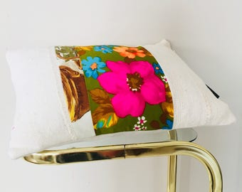"""Vintage Neon Pink Floral on Moss Green Pillow 13""""x18"""" Lumbar Cushion Cover Orange Blue Flower White Mudcloth"""