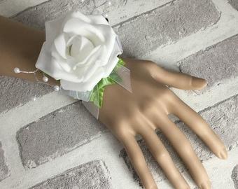 White Wrist Corsage,  Wedding Bracelet, White Rose, White Bracelet, Bride's Wrist Corsage, Prom Corsage, Bridesmaid Corsage, FlowerGirl