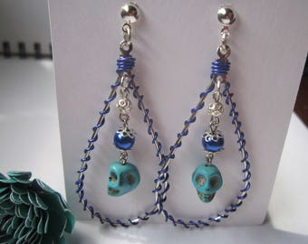 Sugar Skull earrings (Teardrop, Hoop earrings)