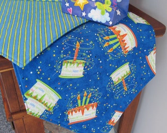 """Birthday Party Table Runner 54"""" Reversible Birthday Cake Table Runner Birthday Party Table Runner Boy Birthday Table Runner Blue Birthday"""