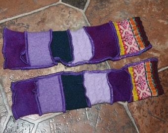 Hand Crafted Children's Size Arm Warmers made From Upcycled Repurposed Recycled Sweaters