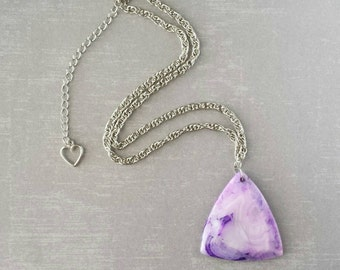 Purple Onyx Agate Triangle Necklace (Silver)