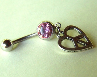 Peace Sign Belly Ring Heart Navel Jewelry Body Jewelry Belly Ring Belly Button Ring Navel Ring