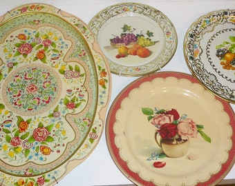 Vintage Tin Litho Trays England Daher Decorative Ware Set of Four by VintageReinvented