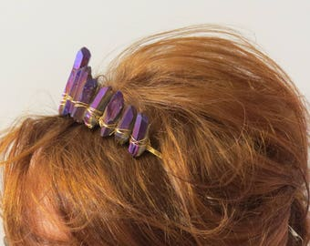 Gemstone  Tiara - Purple and Gold