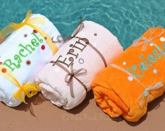 Monogram Beach Towel | Fun Dot Beach Towel | Personalized Towel