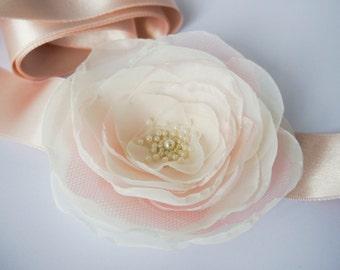 Blush Pink Ivory Flower Bridal Sash, Pale Pink Sash, Bridal Gown Sash, Blush Pink Belt, Ivory Flower Belt, Wedding Sash, Formal Dress Sash