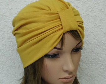 Women's turban, front knotted mustard turban hat for women, fashion turban, elegant women's hat, sewn from viscose jersey with elastane