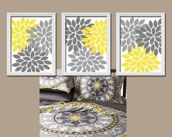 Yellow Gray Flower Wall Art, CANVAS or Prints, Bedroom Pictures, Bathroom Decor, Flower Burst Petals, Yellow Gray Nursery Decor Set of 3