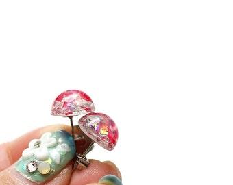 Glitter earrings, post earrings, small earrings, cute studs, gift for friend, gift for her, party earrings, bridesmaid jewelry, fun earrings
