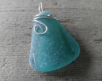 Teal sea glass pendant from Maryland's Eastern Shore