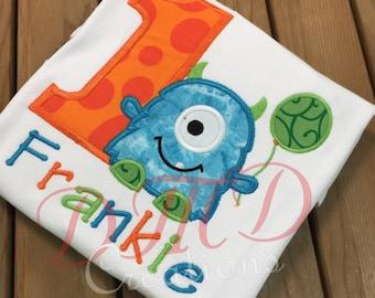 Little Monster Birthday Applique Shirt