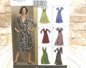 Vogue Easy Options 8489 Womens Mid Knee or Mid Calf Dress with Fitted Bodice and Flared Skirt Size 8 16 Uncut Sewing Pattern