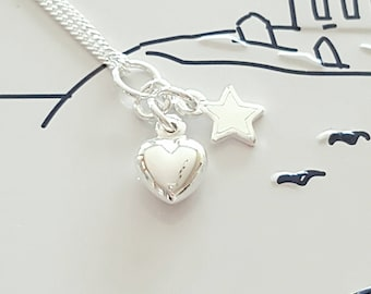 Silver Heart Necklace, Sterling Silver Necklace, Silver Heart Necklace, Heart Charm, Silver Heart, Heart, Gift For Her