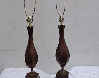 Mid Century Modern Pair of Tall Wood Table Lamps 6324
