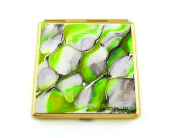 Square Compact Mirror Hand Painted Enamel Charteuse and Taupe Enamel Quartz Inspired with Personalized Options