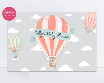 Hot Air Balloon Backdrop, Printable Backdrop, Up Up and Away, Baby Shower Backdrop, Printable Sign, Print Yourself, Digital File YOU PRINT