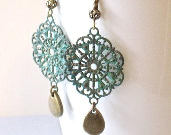 Filigree Earrings - Patina Jewelry, Verdigris Earrings, Lightweight Earrings, Teardrop Earrings