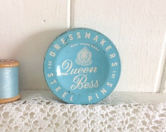 Vintage Dressmakers Pin Tin Queen Bess Polished Steel Pins 1940s