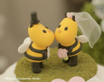 Kissing Bees wedding cake topper,ladybug wedding cake topper