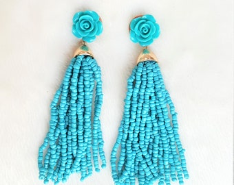 Beaded Tassel Earrings Teal Blue Rose Stud Enamel, Turquoise Statement Earrings, Boho Earrings by UrbanFlair