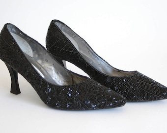 80s Black Beaded Heels - Caparros Heavily Beaded Pumps - Formal Evening Shoes - Size US 9 Narrow