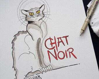 Le Chat Noir Ink and Watercolour Montmatre Kitchen Art Tattoo Studio Decor