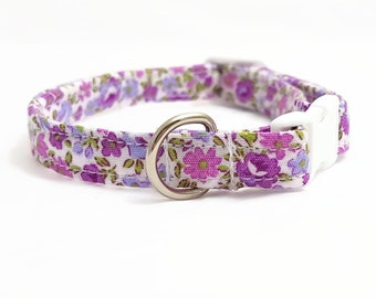 "Cat Collar Breakaway  - ""Purple Flowers""  - Safety Cat Collar - Safe/Soft Durable Cat Collar - Cute Cat Collar - Spring - Cotton Cat Collar"