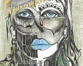 Original Art Pencil Ink Sketch Steel blue Mask Sunflower Art