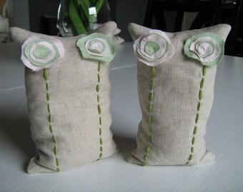 Linen Flowers Bean Bag Bookends
