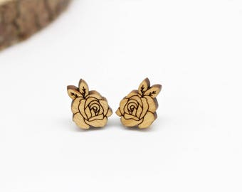 Rose Stud Earrings   Laser Cut Nature & Flower Jewellery