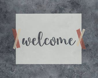 Welcome Stencil - Reusable DIY Craft Stencils of Welcome Sign Text
