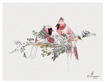 Cardinal Bird Art, Watercolor Painting, Valentines Day Gift, Bird Wall Art, Animal Painting, Bird Watercolor Print, Cardinal Art