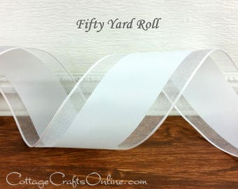 "Wired Ribbon, 2 1/2"" wide, White Satin with Sheer Edge  - FIFTY YARD ROLL - Offray ""Rosalie"", Wedding, Wire Edged Ribbon"