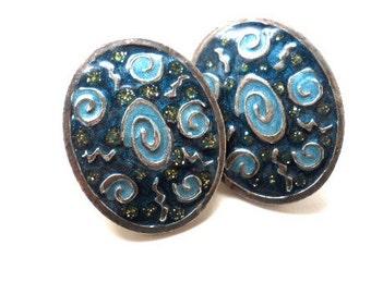 Vintage Earrings Blue Black Silver Enameled Newpro