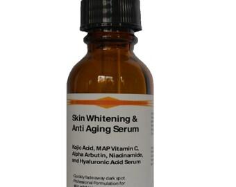 Advanced Skin Whitening / Anti aging Kojic Acid, MAP Vitamin C, Alpha Arbutin, Vitamin B3 Niacinamide and Pure Hyaluronic Acid Serum 1.2 oz