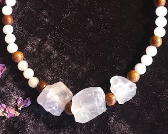 Rose Quartz and Rosewood Necklace