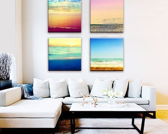 Ocean Sunset Canvas Wall Art, Abstract Ocean Canvas Set, Beach Canvas Wrap Art, Ocean Photography Set, Large Canvas Print, Minimalist