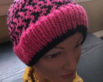 Hot Pink and Black Warm Hat