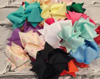 """Boutique Baby Girl Hair Bow Clip attached to alligator clip. Pick 10 colors. 4.5"""" Hairbows Hair Clips"""